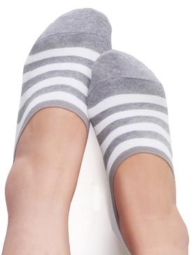 VERO MONTE 4 Pairs Womens Stripe No Show Socks (Grey, 6-8) Sport No Show Socks