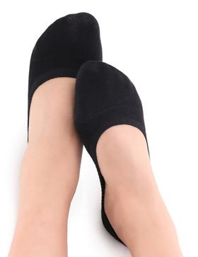 VERO MONTE 4 Pairs DURABLE Women No Show Socks Non Slip Cotton (BLACK, 6-8)