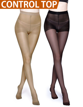 Vero Monte 2 Pairs Control Top Pantyhose 4 Women Semi Opaque Tights (Nude+Black)