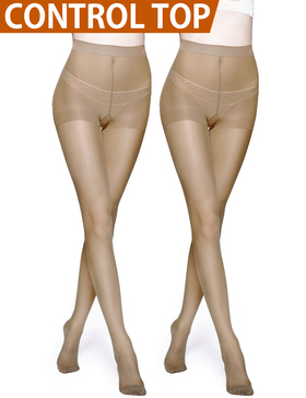 Vero Monte 2 Pairs Control Top Pantyhose for Women - Semi Opaque Tights (Nude)