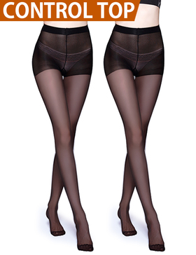 Vero Monte 2 Pairs Control Top Pantyhose for Women - Semi Opaque Tights (Black)