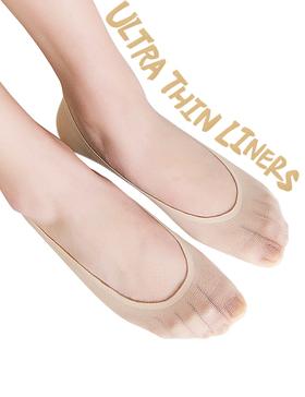 VERO MONTE 6 Pairs Comfy No Slip No Show Socks Non Slip Nylon Liners (NUDE, 6-9)