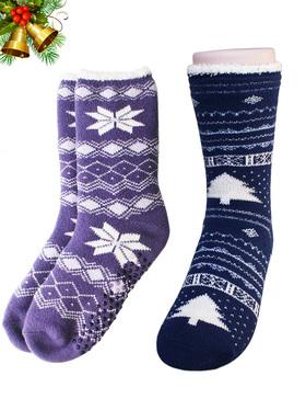 VERO MONTE 2 Pairs Slipper Socks Women With Grips Fluffy Socks Non Slip , 6-8