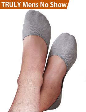 VERO MONTE 4 Pairs Mens No Show Socks BLACK GREY 6.5-8 for Low Profile Shoes
