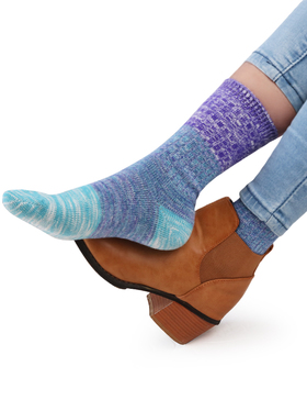 Vero Monte 4 Pairs Women's Colorful Cotton Socks (Size 8-9.5, Purple & Yellow)